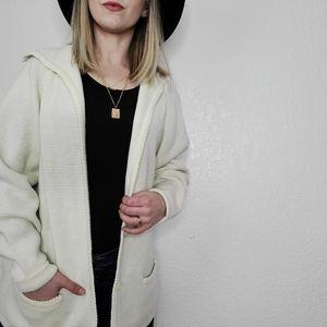 Vintage Ivory Off White Knit Long Line Cardigan